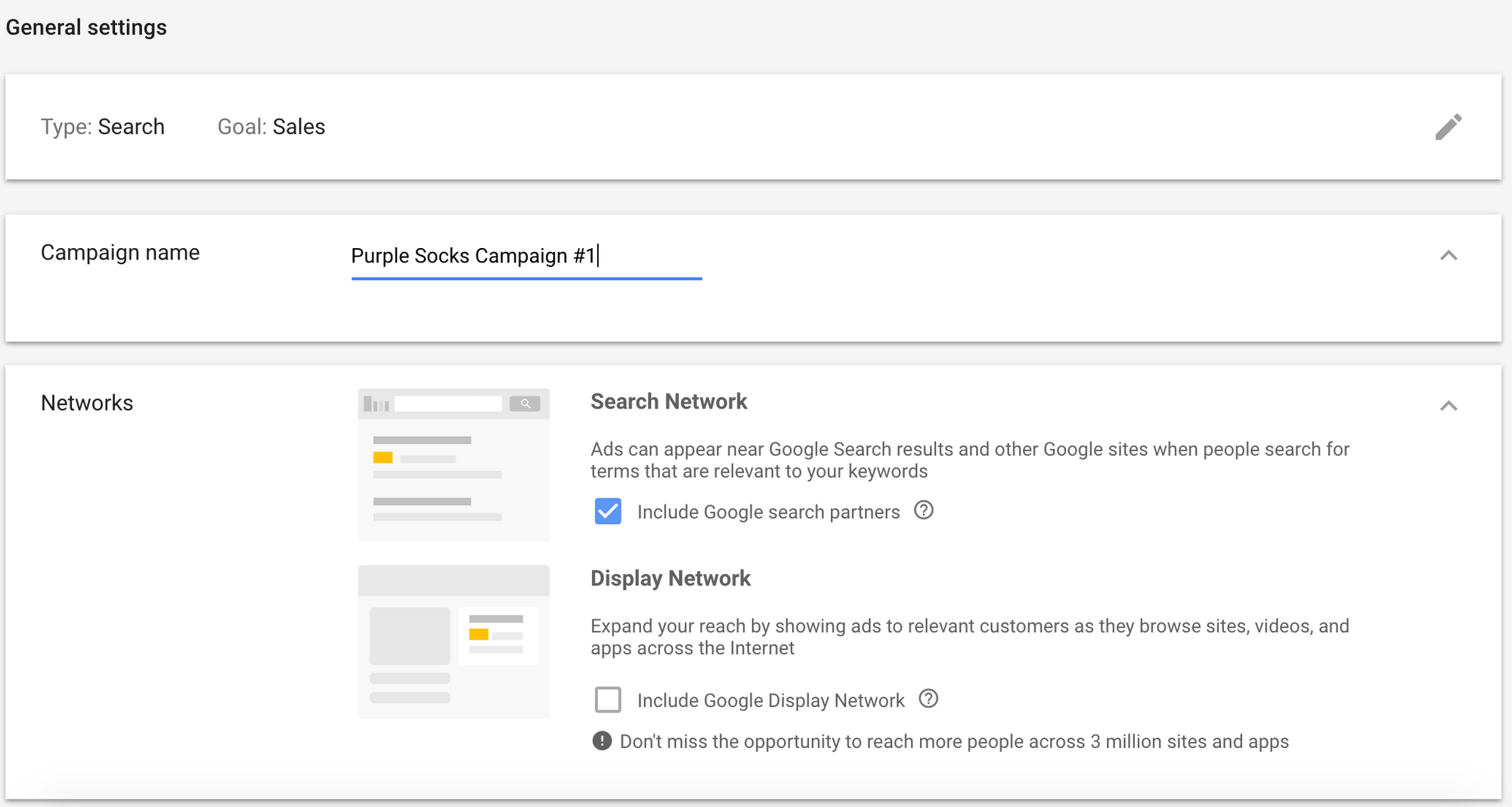 Google Ads Campaign Name and Networks