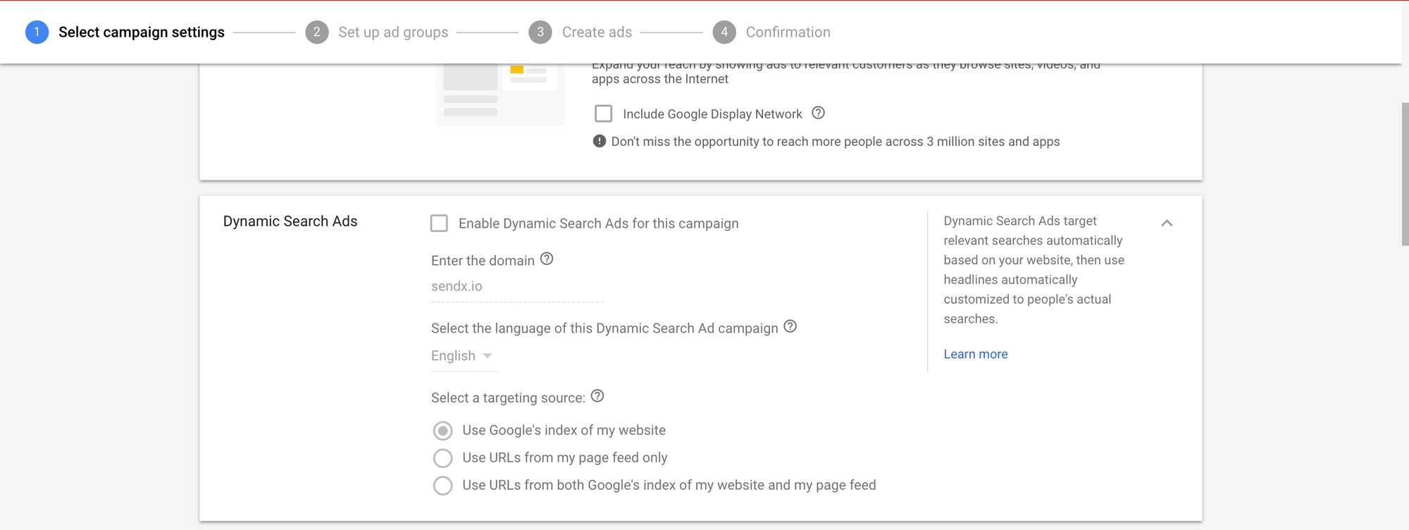 Google Ads Dynamic Search