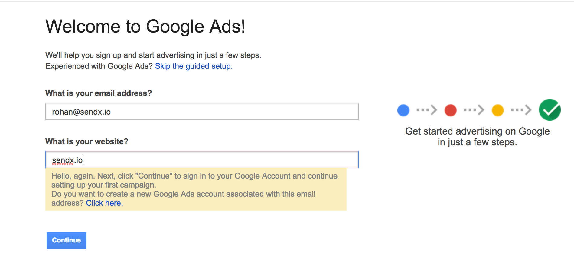 Setting Up Google Ads Account