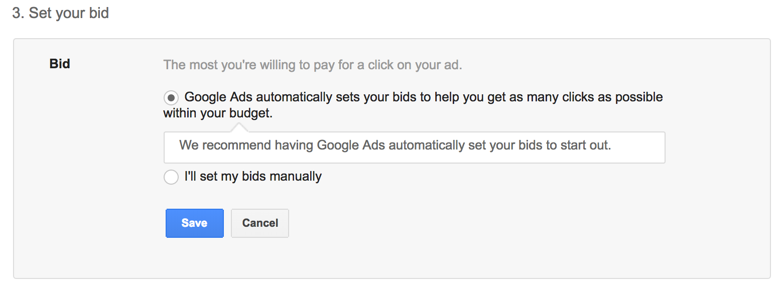 Google Ads Bid Setting
