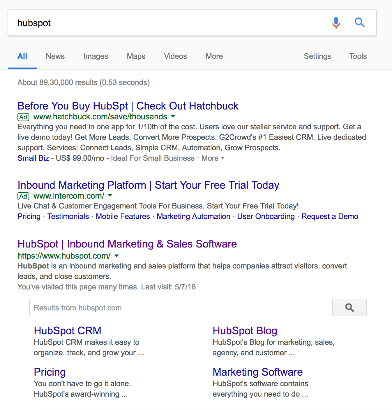 Hubspot Google Search Results